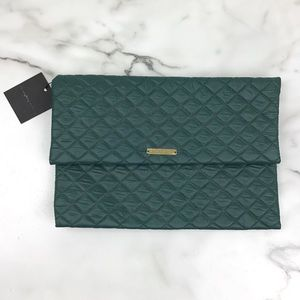 Do Everything In Love Green Quilted Clutch